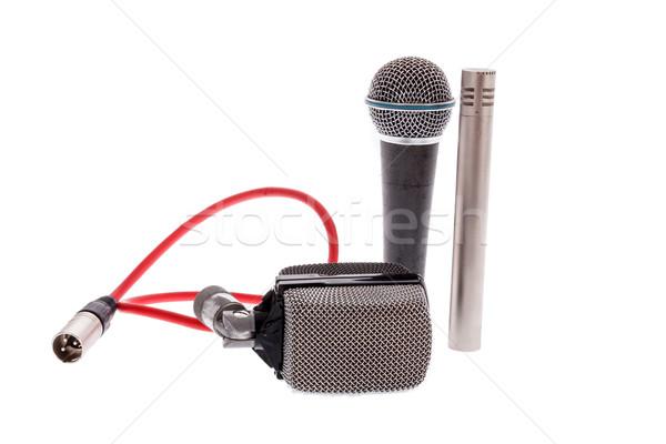 studio recording groups of vintage  microphones on white backgro Stock photo © feelphotoart