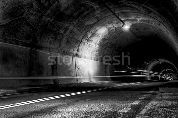 Alagút éjszaka sugarak fény ijesztő út Stock fotó © feelphotoart
