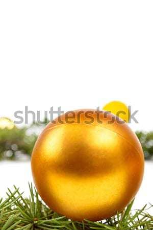 Dekoráció fenyőfa fenyő citromsárga dísz labda Stock fotó © feelphotoart