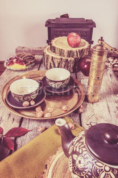 Nosztalgikus csendélet konyha tea cserépedények daráló Stock fotó © feelphotoart