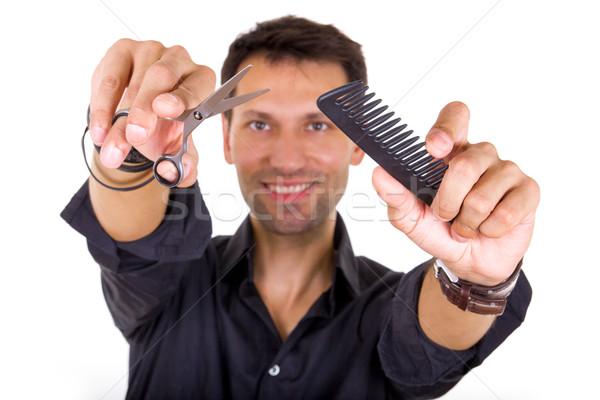 Professionali parrucchiere forbici pettine focus Foto d'archivio © feelphotoart