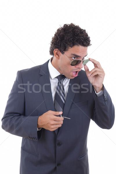 бизнесмен очки ключами молодые Сток-фото © feelphotoart
