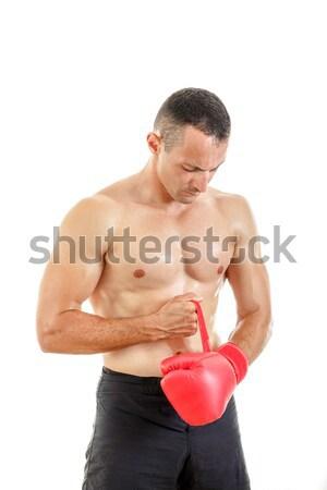 Sportos férfi tart emel felfelé piros Stock fotó © feelphotoart