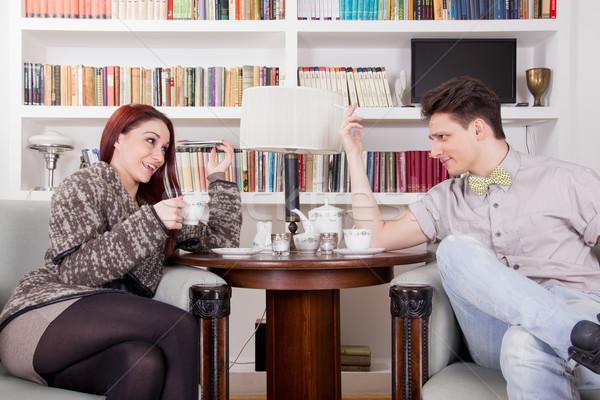 Paar vergadering stoelen woonkamer huis Stockfoto © feelphotoart