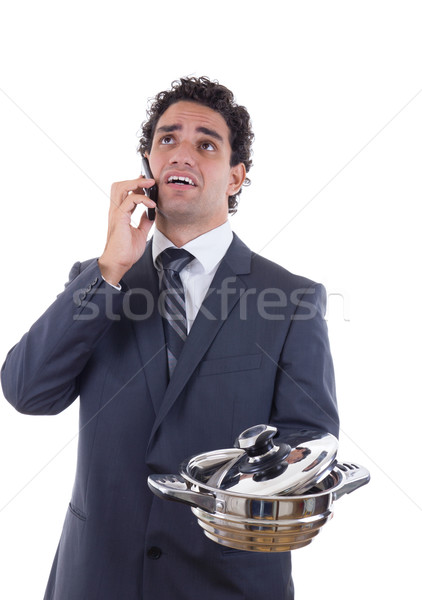 sad man seeking lunch on mobile phone Stock photo © feelphotoart