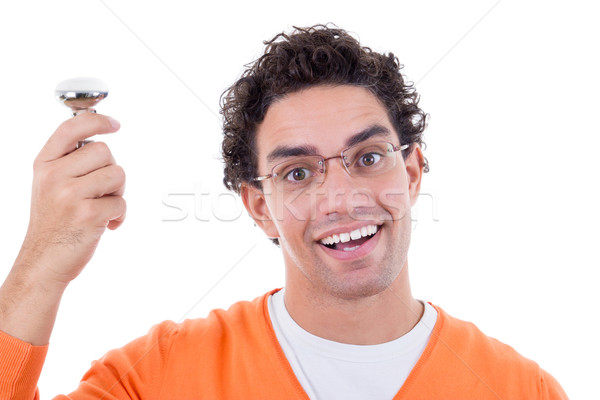 Stock Photo Man With Great Idea Holding Light Bulb Wearing Glasses