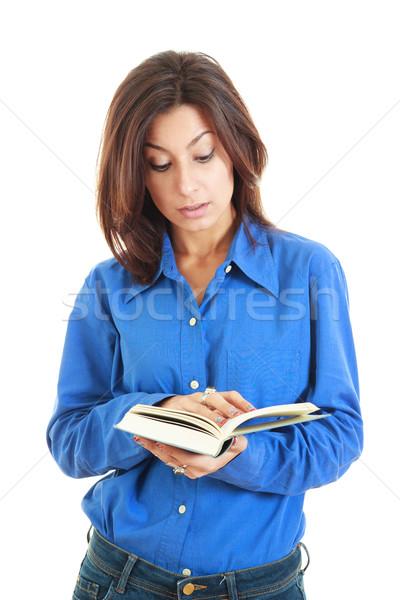 серьезный молодые красивая женщина открытой книгой чтение Сток-фото © feelphotoart