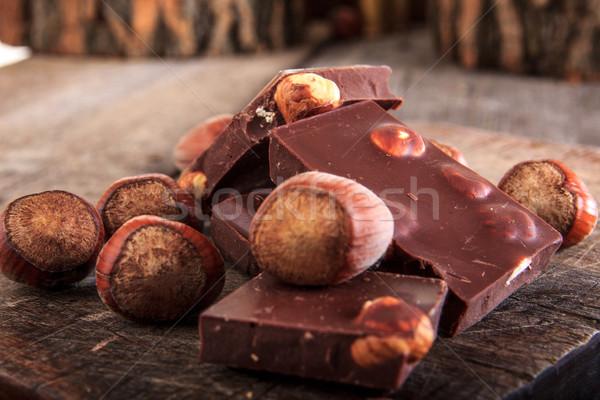 идеальный шоколадом орехи баров Сток-фото © feelphotoart