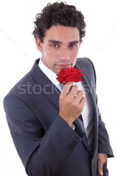 Man steeg knappe man pak model haren Stockfoto © feelphotoart