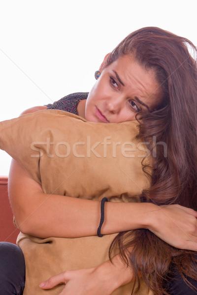 печально девушки подушкой Cute сидят Сток-фото © feelphotoart