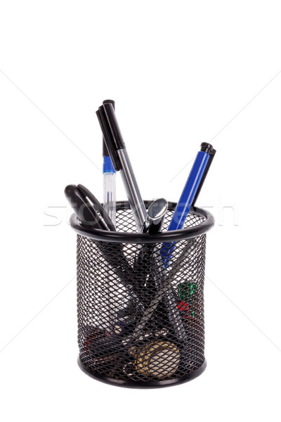 tools in pen holder isolated on white background Stock photo © feelphotoart