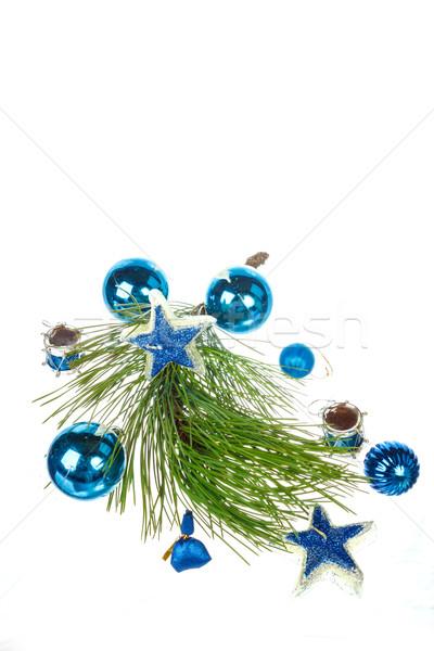 Dekoratív kék díszek fenyőfa fenyő karácsony Stock fotó © feelphotoart