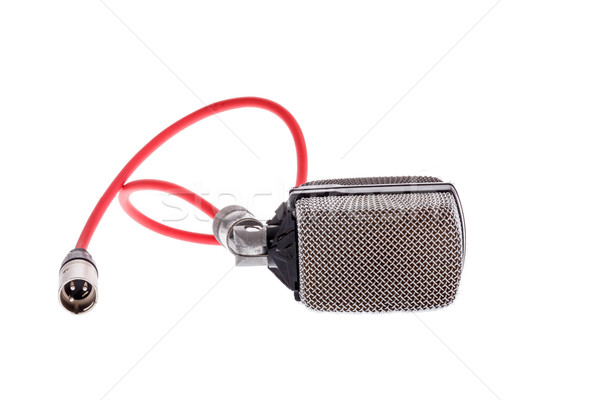 vintage  microphone with red cable for lead vocal on live gig  o Stock photo © feelphotoart
