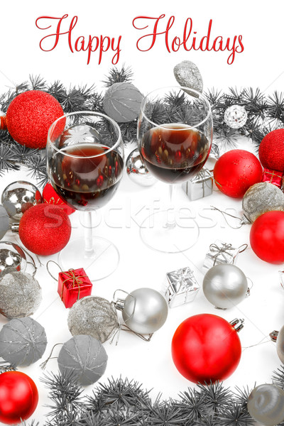 Новый год украшение соснового ель красный украшения Сток-фото © feelphotoart