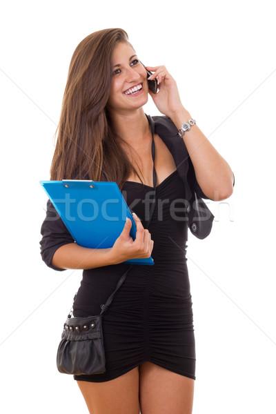 деловой женщины папке кошелька говорить телефон Сток-фото © feelphotoart