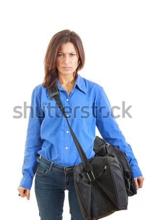 женщину чемодан призыв красивой Сток-фото © feelphotoart