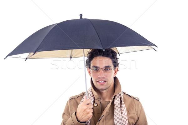 Férfi tart esernyő kabát sál visel Stock fotó © feelphotoart