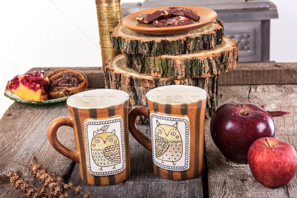 два пусто чай ретро деревянный стол Сток-фото © feelphotoart