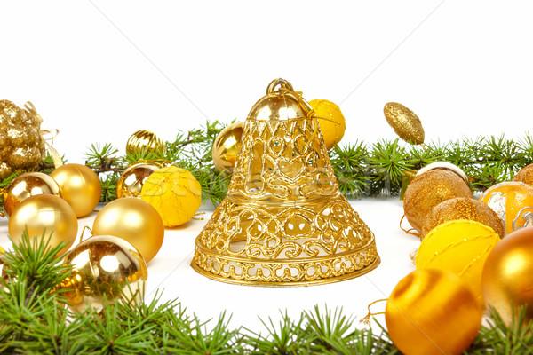 Arany karácsony dekoráció új év dekoráció fenyőfa Stock fotó © feelphotoart