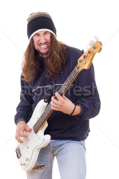 Agresif erkek müzisyen oynama bas gitar Stok fotoğraf © feelphotoart