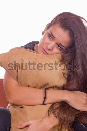 девушки подушкой улыбаясь довольно женщину Сток-фото © feelphotoart