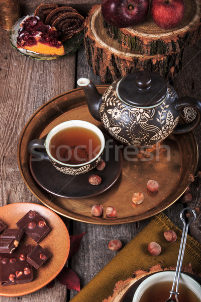 Théière tasse thé rétro vintage style Photo stock © feelphotoart