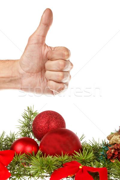 красный украшения соснового ель Рождества Новый год Сток-фото © feelphotoart