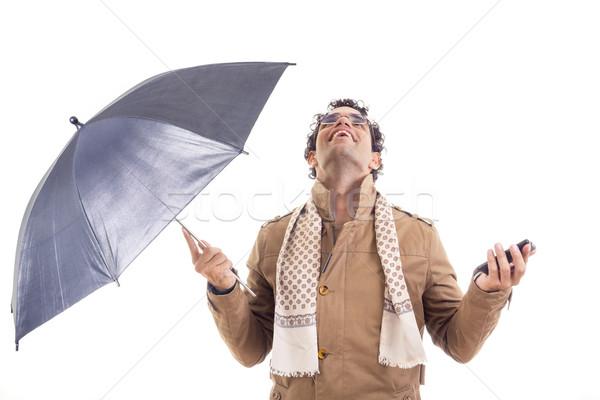 Stock fotó: Férfi · kabát · esernyő · stúdió · felnőtt · kéz