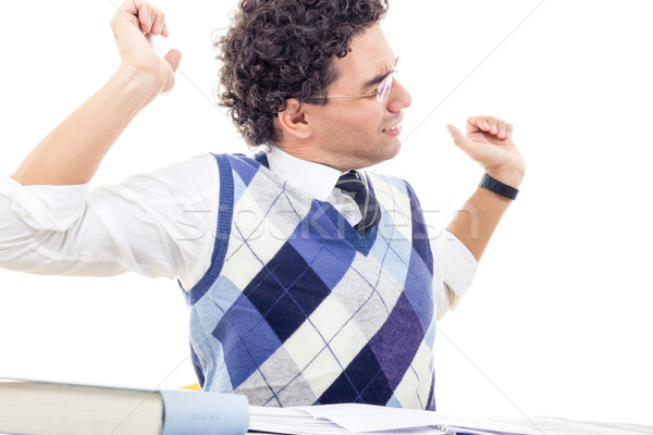 tired man with neck pain in pullover reading book Stock photo © feelphotoart