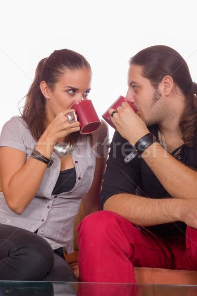 Pár iszik kávé szeretet nő mosoly Stock fotó © feelphotoart