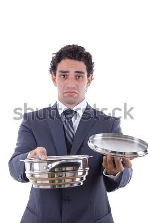 angry man seeking lunch on mobile phone Stock photo © feelphotoart