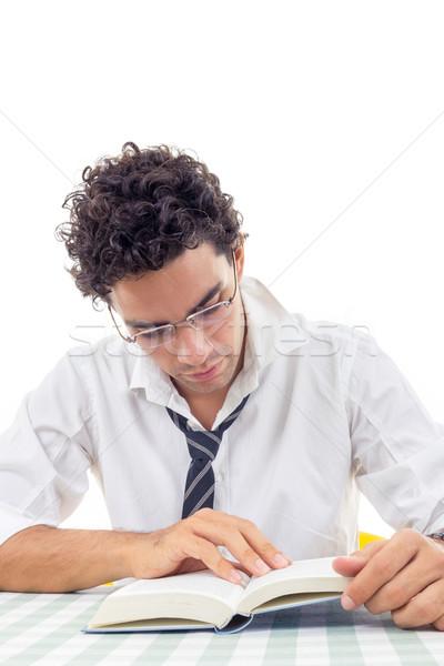 человека рубашку книга галстук сидят бизнеса Сток-фото © feelphotoart