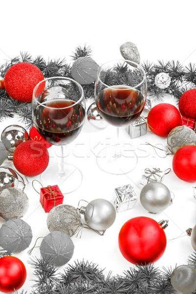 Dekoráció fenyőfa fenyő piros díszek golyók Stock fotó © feelphotoart