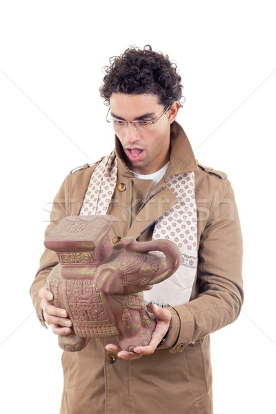 professor in coat with glasses looking artifact Stock photo © feelphotoart