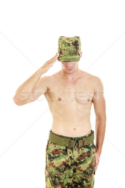 солдата Постоянный гордый серьезный Hat Сток-фото © feelphotoart