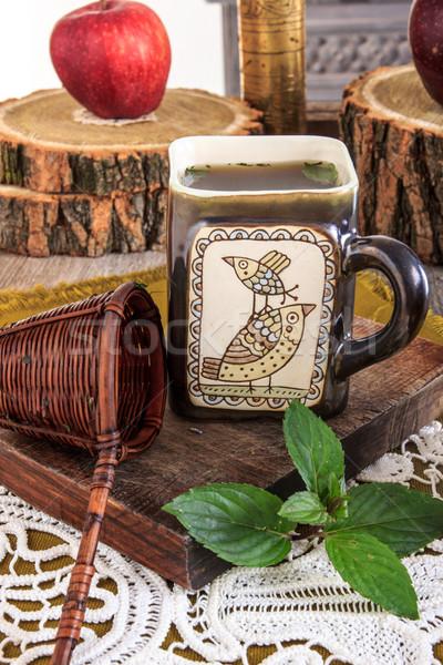 Közelkép érdekes csésze tea üzenet fából készült Stock fotó © feelphotoart