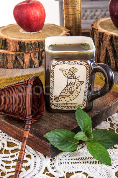 Interessante copo chá mensagem Foto stock © feelphotoart