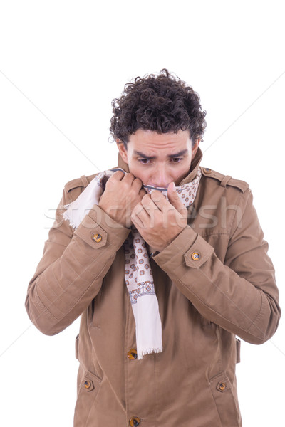 adult man in the coat covers the face with scarf Stock photo © feelphotoart