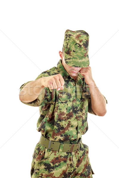 Army soldier fighter hitting with fist Stock photo © feelphotoart