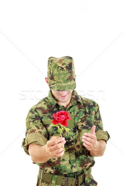 Askeri subay çiçek gülen utangaç Stok fotoğraf © feelphotoart