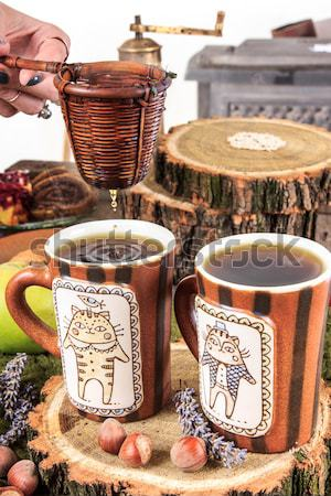 Old tea cups with strainer on retro vintage kitchen table Stock photo © feelphotoart