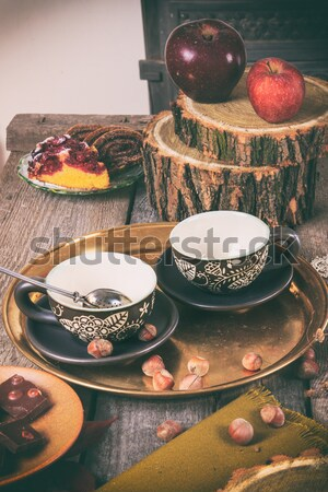 Traditional set of tea with kettle and cups with strainer Stock photo © feelphotoart