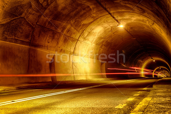 tunnel at night with mystical lights Stock photo © feelphotoart