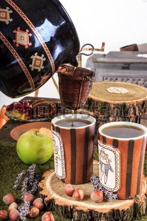 Vintage чай кофейные чашки деревянный стол ретро кофе Сток-фото © feelphotoart