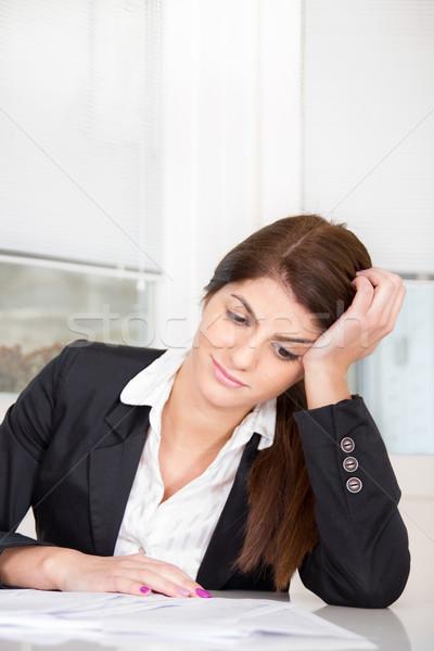 довольно деловой женщины сидят таблице женщину Сток-фото © feelphotoart