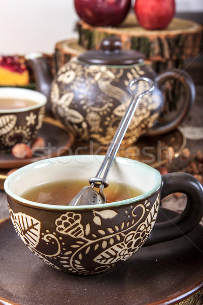 Tea cup with strainer in vintage old house Stock photo © feelphotoart