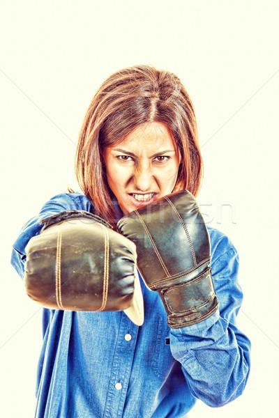 üzletasszony boxkesztyűk pózol mérges verekedés üzlet Stock fotó © feelphotoart