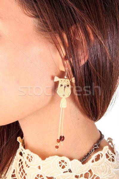 женщину уха серьга ручной работы природного Сток-фото © feelphotoart