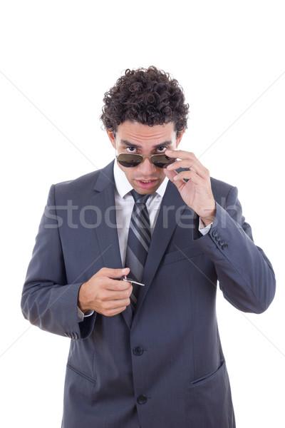 Férfi szemüveg tart kulcsok néz előre Stock fotó © feelphotoart