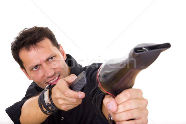 Fodrász fésű hajszárító férfi mutat divat Stock fotó © feelphotoart